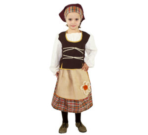 Disfraz Pastora ocre rústico para niña